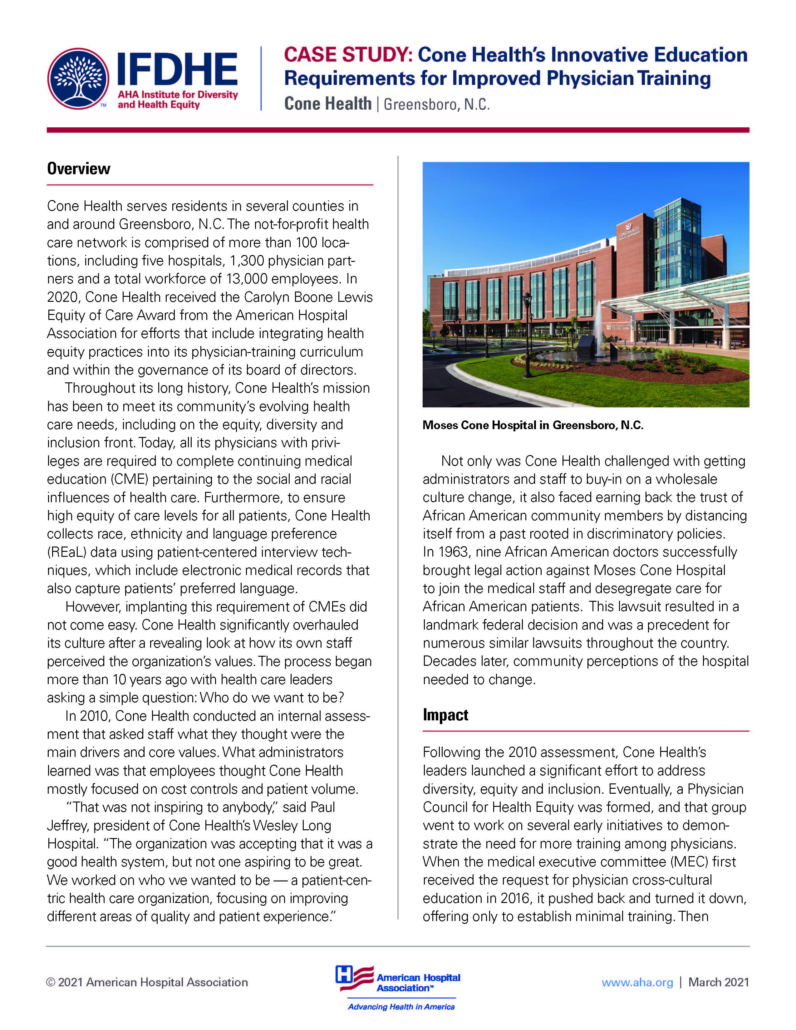 Page 1 of Case Study: Health's Innovative Education Requirements for Improved Physician Training Cone Health | Greensboro, N.C.