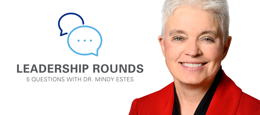 Leadership Rounds logo and Melinda L. Estes, M.D., headshot banner