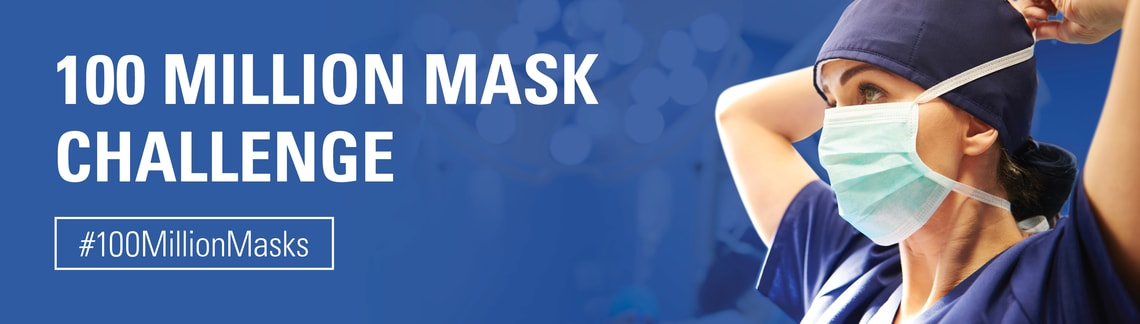 100 Million Mask Challenge banner. #100MillionMasks