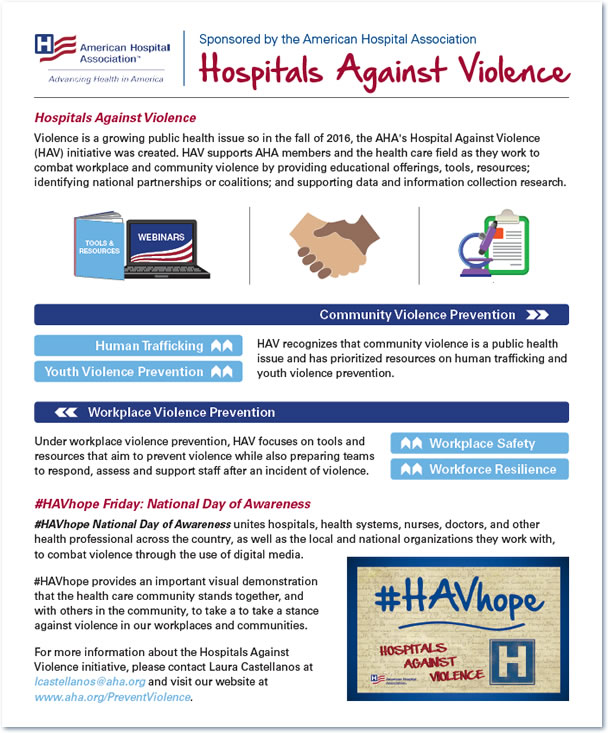 Hospitals Against Violence one-pager thumbnail