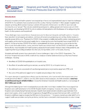 Hospitals and Health Systems Face Unprecedented Financial Pressures Due to COVID-19 report first page