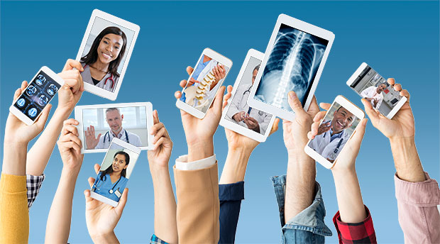 Telehealth Use Surges in Rapidly Changing Market hands holding mobile devices with telehealth apps visible