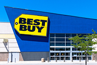 Best Buy logo on a retail store