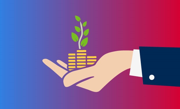 Health System Venture Funds Place Their Bets on Innovation. A businessperson's hand holds stacks of coins with a plant growing out of them.