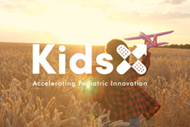 Children's Hospitals, Startups to Create Digital Solutions to Transform Care. KidsX Accelerator website image of a child running through a golden wheat field with an airplane in his hand and KidsX Accelerator logo.