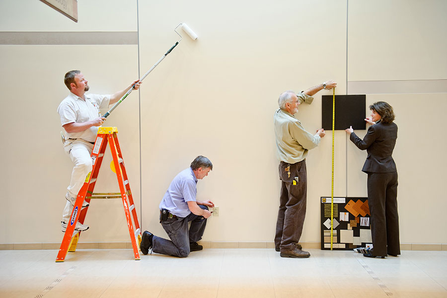 Workers performing maintenance and renovation in a hospital