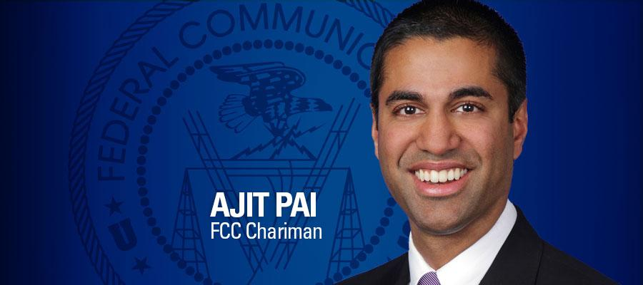 Image of FCC Chairman Ajit Pai, with blue background
