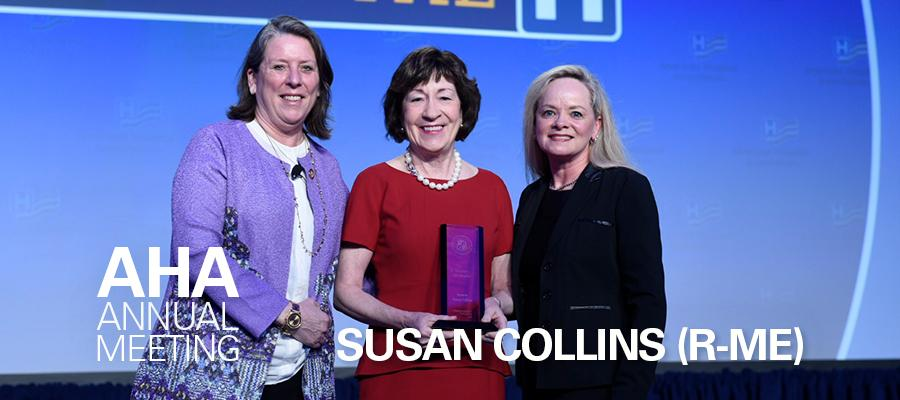 Sen. Susan Collins accepts the AHA Honorary Life Membership Award from Michelle Hood and Kris Doody