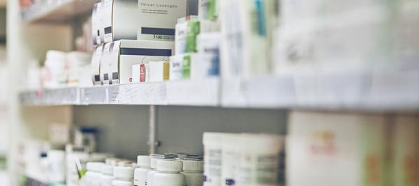 closeup of pharmacy shelves
