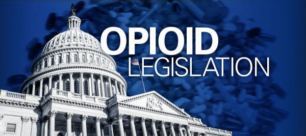 "blue background with capitol building and white text that says ""Opioid Legislation"""
