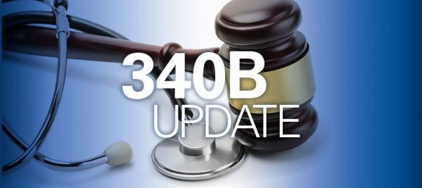 "image of stethoscope next to gavel with white text that reads ""340B Update"""