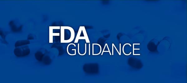 "blue background with white text that says ""FDA Guidance"""