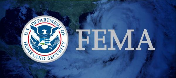 Image of hurricane with the Dept of Homeland Security logo and the FEMA logo