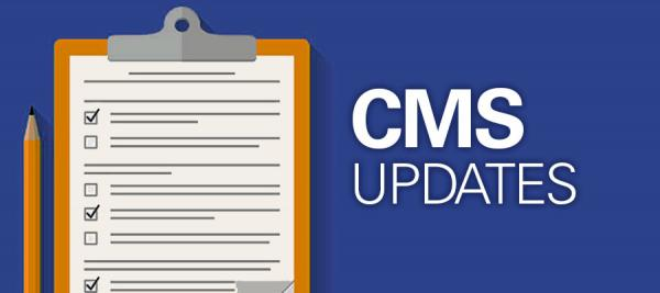 "Illustration of clipboard with the text ""CMS Updates"" next to it"