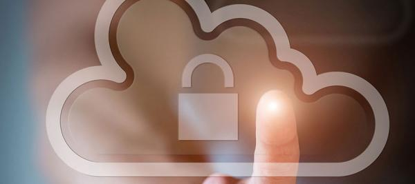 Fingertip touching screen with cloud image and lock on it -- cybersecurity White House