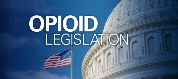 "Image of capitol building with American flag with text that reads ""Opioid Legislation."" Overdose Prevention and Patient Safety Act"